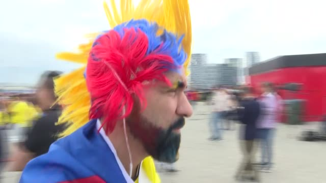 various shots of fans ahead of the 2018 fifa world cup russia round of 16 soccer match between colombia and england at the spartak stadium in moscow,... - torschuss stock-videos und b-roll-filmmaterial