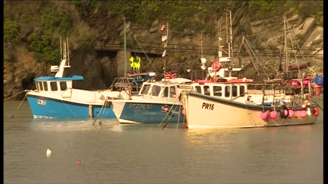 Various shots of fishing boats moored in Newquay Harbour in Cornwall