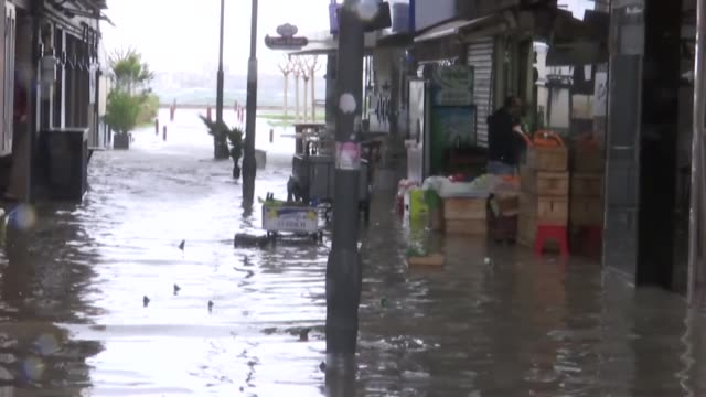 Various shots of flooded areas after heavy rain and storm hit Izmir western province of Turkey on January 18 2018
