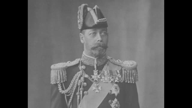 various shots of george v photographs on wall draped in mourning black includes closeups of the photos / note exact day not known - 1936 stock videos and b-roll footage