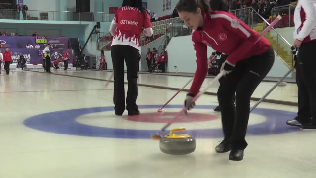 Various shots of girls' curling final game between Russia and Turkey during the European Youth Olympic Festival in Erzurum Turkey on February 17 2017