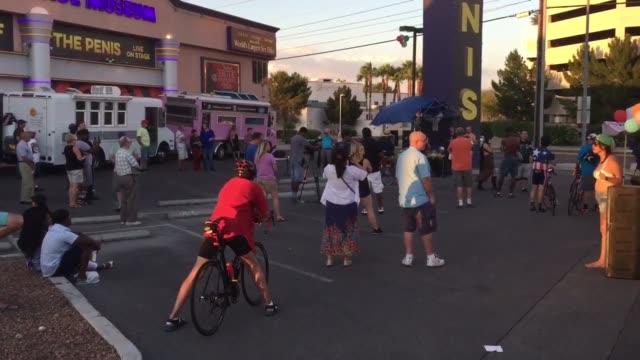various shots of las vegas' inaugural naked bike ride - naturist stock-videos und b-roll-filmmaterial