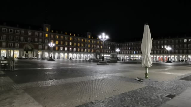 various shots of madrid streets during a curfew on october 27, 2020. spain's state of emergency came into effect on sunday night and instated an... - non urban scene stock-videos und b-roll-filmmaterial
