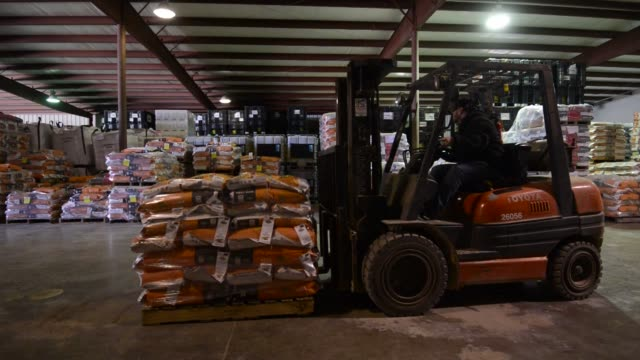 various shots of male workers loading palettes of corn and soybean seeds and stacking them with a forklift in a warehouse in manlius il on april 1 a... - 倉庫作業員点の映像素材/bロール