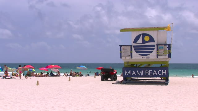 various shots of miami beach florida - welcome sign stock videos & royalty-free footage