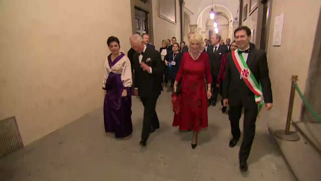 Various shots of Prince Charles and Camilla Duchess of Cornwall posing for photographs and speaking with Dario Nardella Mayor of Florence and his...