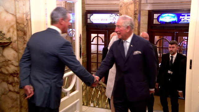 Various shots of Prince Charles arriving to attend the Prince's Trust Awards ceremony at the London Palladium and greeting officials and guests>> on...