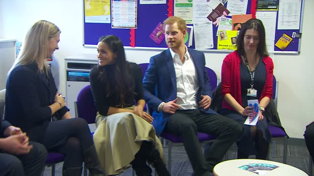 Various shots of Prince Harry and Meghan Markle arriving at Nottingham Academy for a visit to meet with staff from the academy and other local...