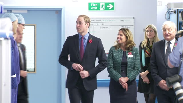 various shots of prince william duke of cambridge speaking to staff and departing from the royal marsden hospital prince william visits royal marsden... - 退院点の映像素材/bロール
