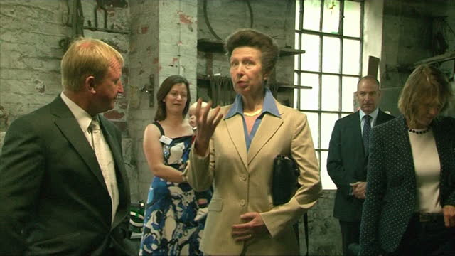 Various shots of Princess Anne visiting the National Coal Mining Museum including shots of Princess Anne wearing a hard hat and white overcoat...