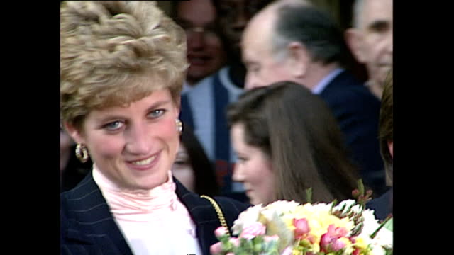 various shots of princess diana departing after visiting a ymca centre in stockwell>> on february 02 1993 in london england - 1993 stock videos & royalty-free footage