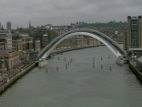 various shots of queen walking along gateshead millennium bridge on the opening day during her golden jubilee tour - golden jubilee stock videos & royalty-free footage