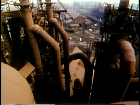 stockvideo's en b-roll-footage met 1963 montage various shots of steel mill / chicago, united states / audio - 1963