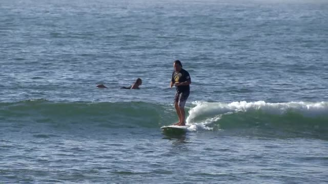 various shots of surfers in the pacific ocean in malibu california on july 18 a medium shot of two surfers in wetsuits paddling in the pacific ocean... - small stock videos & royalty-free footage