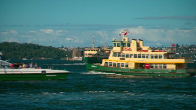 various shots of sydney ferries and the rivercat on sydney harbour with sydney opera house fort denison in background / manly fast ferry with... - bennelong point stock videos and b-roll footage