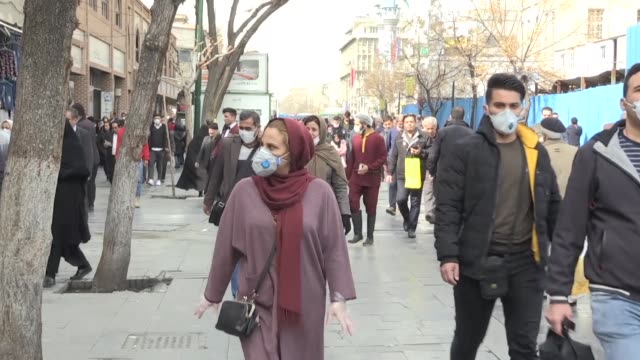 various shots of tehran streets on february 24, 2020. the death toll from the coronavirus outbreak, officially known as covid-19, in iran, rose to 12... - epidemia video stock e b–roll