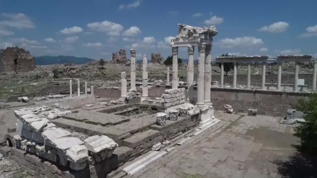 Various shots of the acropolis of Pergamon which was included in UNESCO's World Heritage list in 2014 in Izmir province of western Turkey on August...