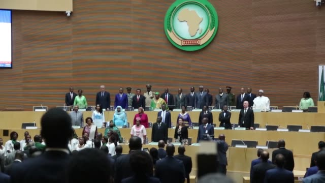 various shots of the african union's headquarters during a handover ceremony in addis ababa ethiopia on march 14 2017 the new african union... - アフリカの角点の映像素材/bロール