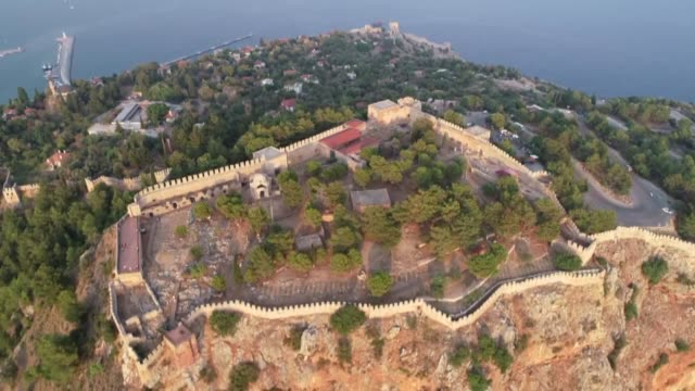 Various shots of the Alanya Castle which was accepted in the UNESCO Tentative List of World Heritage in 2000 in Antalya Turkey on August 22 2018 The...