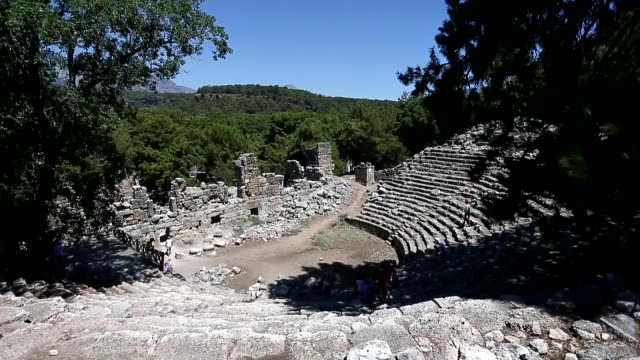 various shots of the ancient city of phaselis located within the beydaglari coastal national park in tekirova town of antalya's kemer district turkey... - mediterranean turkey stock videos and b-roll footage