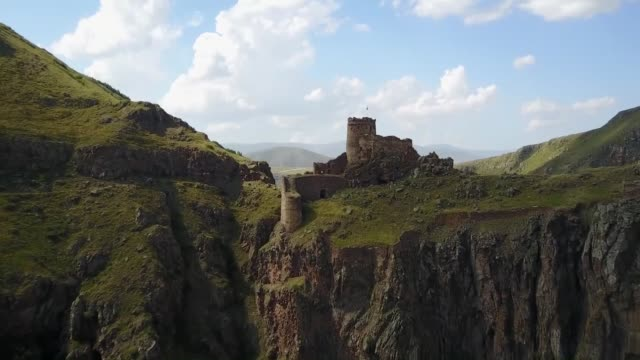 various shots of the ancient devil's castle sitting on the edge of a cliff in the karacay canyon in cildir district of ardahan northeastern turkey on... - devil stock videos & royalty-free footage