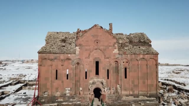 various shots of the archaeological site of ani located on a plateau at turkey's border with armenia in northeastern kars province on february 03... - kars stock videos & royalty-free footage