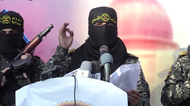 various shots of the brigades of saraya al-quds, palestinian islamic jihad movement, are seen during a military parade, in gaza city, gaza on october... - jihad stock videos & royalty-free footage