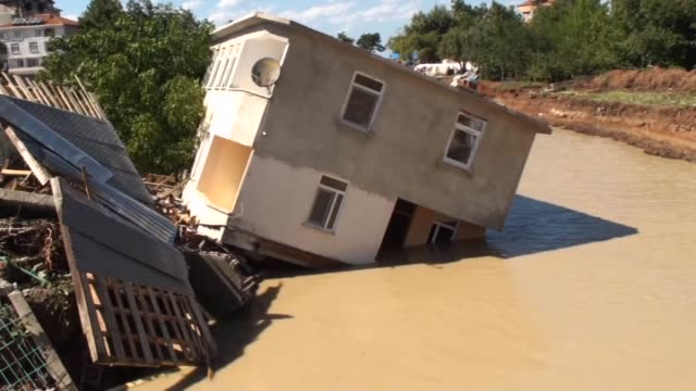various shots of the damage seen after heavy rains cause flooding in amasra district of bartin turkey on august 14 2016 - august stock videos & royalty-free footage