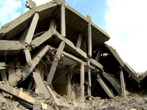 various shots of the destroyed central police headquarters in gaza after explosion - gaza strip stock videos & royalty-free footage
