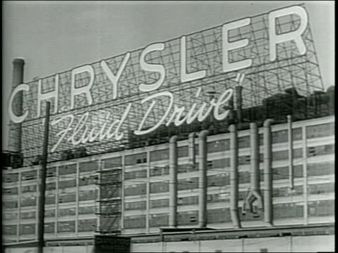 stockvideo's en b-roll-footage met various shots of the detroit skyline and factory buildings including chrysler ford motor company desoto and lincoln motor company/ various shots of... - chrysler