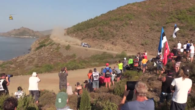 stockvideo's en b-roll-footage met various shots of the drivers compete during yesilbelde stage of the world rally championship in southwestern mugla province, turkey on september 14,... - 40 seconds or greater