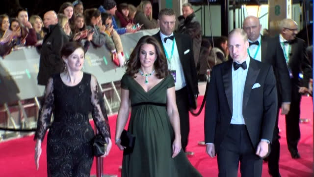 Various shots of the Duke and Duchess of Cambridge arriving to attend the EE British Academy Film Awards ceremony at the Royal Albert Hall and...