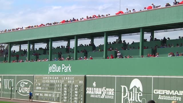various shots of the green monster outfield wall at jetblue park at fenway south the boston red soxs spring training facility in fort meyers florida... - spring training stock videos & royalty-free footage