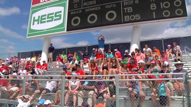 Various shots of the jumbotron at JetBlue Park at Fenway South the Boston Red Soxs spring training facility in Fort Meyers Florida on March 23 A wide...