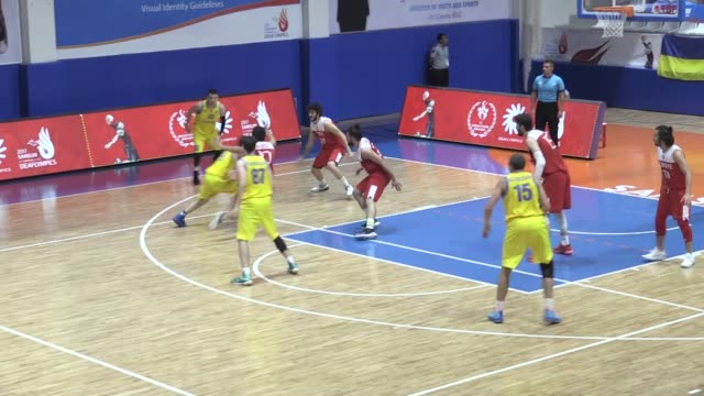 Various shots of the men's quarterfinal basketball match between Turkey and Ukraine within the 23rd Summer Deaflympics 2017 at Sports Center in...