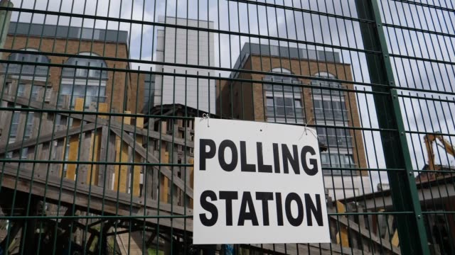 vídeos de stock, filmes e b-roll de various shots of the meridian adventure play centre polling station during voting in the general election in greenwich district of london united... - 2017