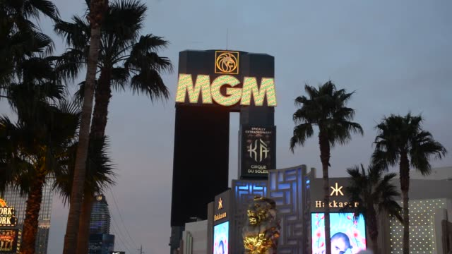 Various shots of the MGM Resorts International Grand Hotel Casino at dusk in Las Vegas Nevada US on Monday Feb 17 A wide shot of the MGM Grand and...