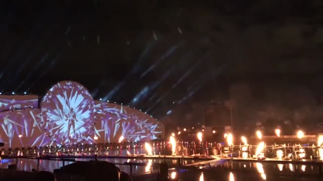 various shots of the multimedia show at the krylatskoye rowing canal as part of the 2019 circle of light international festival, an annual moscow... - multimedia stock videos & royalty-free footage