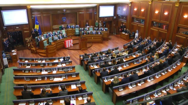 Various shots of the parliamentary session in Pristina Kosovo on March 21 2018 Kosovo's parliament ratified a 2015 border agreement with Montenegro...