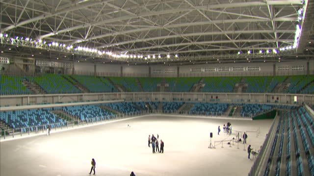 various shots of the recently completed carioca arena 1, where olympic and paralympic basketball events, as well as paralympic wheelchair rugby, will... - sport venue stock videos & royalty-free footage