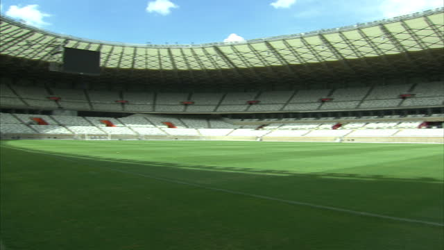 various shots of the refurbished minerao stadium one of the venues for the fifa 2014 world cup build up to 2014 world cup continues on december 06... - internationaler fußball stock-videos und b-roll-filmmaterial