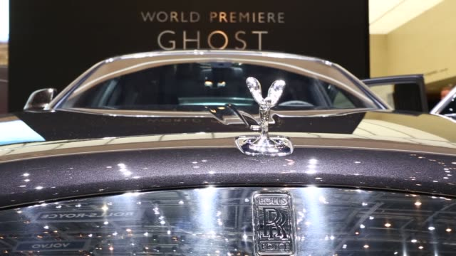 various shots of the rolls royce ghost series ii at the 2014 geneva motor show in geneva switzerland on march 5 a tight tracking shot of the grill... - rolls royce stock videos & royalty-free footage
