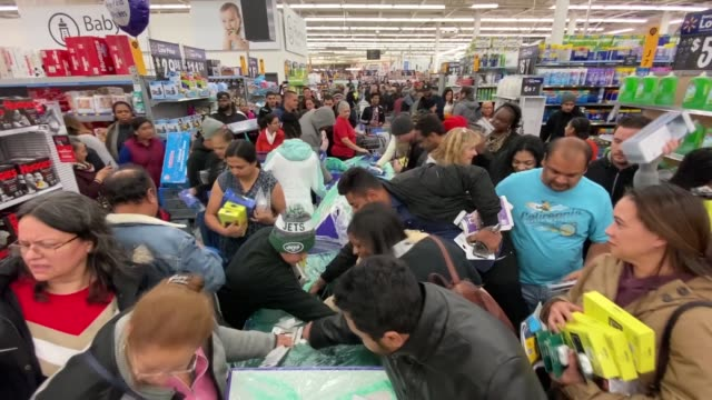 various shots of the shoppers are seen in the 'walmart' store during the sales on a 'black friday' in new york united states on november 28, 2019.... - black friday stock videos & royalty-free footage