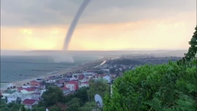 various shots of the tornado passing close to a beach in istanbul's karaburun shore on august 08 2018 - blowhole stock videos & royalty-free footage