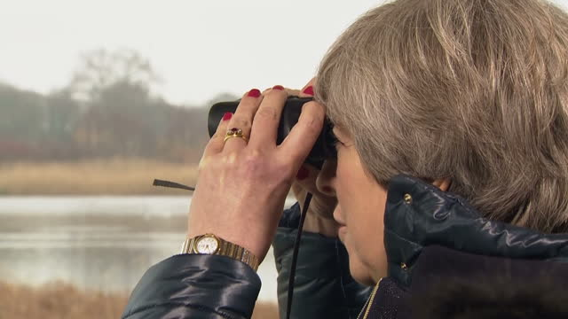 various shots of theresa may visiting the london wetland centre and speaking to a group of school children in a birdwatching hide on january 11 2018... - バードウォッチング点の映像素材/bロール