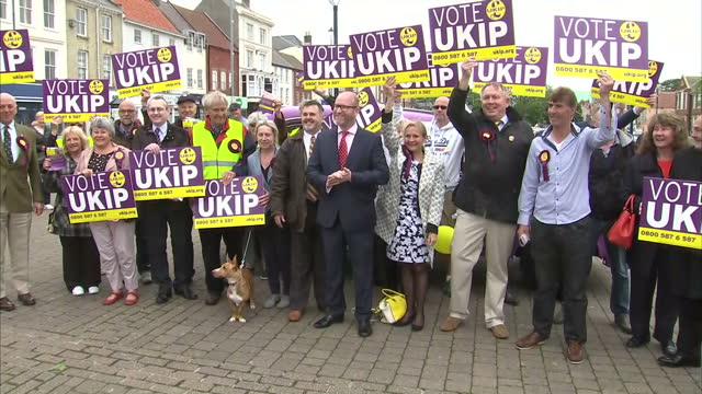 Various shots of UKIP leader Paul Nuttall speaking to voters and posing for a photo opportunity with local UKIP candidate Catherine Blaiklock and...