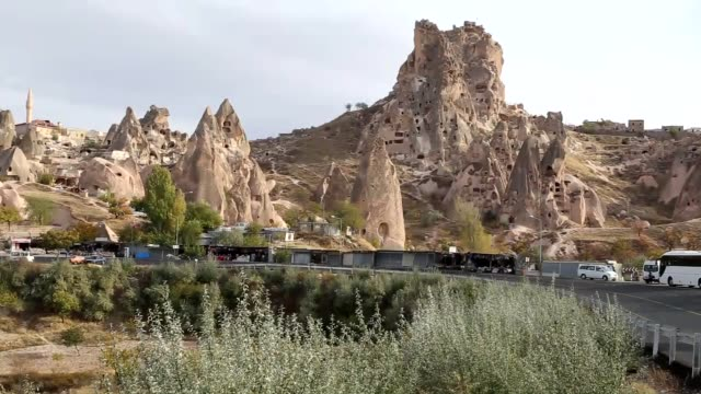 various shots of volcanic rock formations in central anatolia's historic cappadocia region during four seasons in nevsehir turkey listed as a world... - anatolia stock videos and b-roll footage