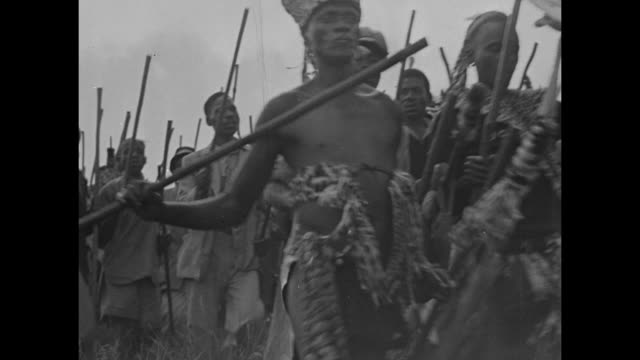 Various shots of Zulu war dancers charging up to reviewing stand and raising their poles / crowd of natives walking across countryside most carry...
