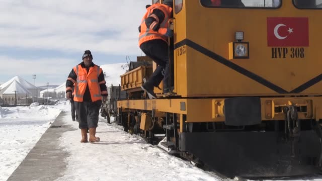 various shots on february 19 2019 from turkish state railways workers who exert intensive efforts to clear the icicles on the way to epic journey aka... - kars stock videos & royalty-free footage