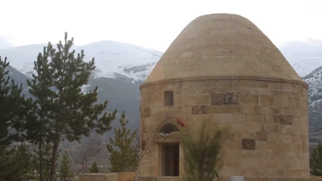 Various shots ot the Dede Qorqud mausoleum in the Black Sea province of Bayburt Turkey on November 29 2018 Bayburt Governor Ali Hamza Pehlivan speaks...